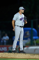 Winston-Salem Dash relief pitcher Will Kincanon (27) looks to his catcher for the sign against the Myrtle Beach Pelicans at TicketReturn.com Field on May 16, 2019 in Myrtle Beach, South Carolina. The Dash defeated the Pelicans 6-0. (Brian Westerholt/Four Seam Images)