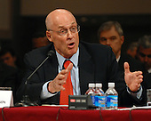 """Washington, D.C. - September 23, 2008 -- United States Secretary of the Treasury Henry M. Paulson testifies before the United States Senate Committee on Banking, Housing and Urban Affairs on """"Turmoil in US Credit Markets: Recent Actions Regarding Government Sponsored Entities, Investment Banks and Other Financial Institutions"""" in Washington, D.C. on Tuesday, September 23, 2008.  The hearing focused on the United States Government's proposed 700 billion U.S. dollar bail-out of the banking system caused by poor lending practices of U.S. banks.<br /> Credit: Ron Sachs / CNP"""