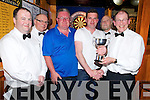 Paul Kelly pictured as he received the Peig Murphy Cup from Sean Murphy, Murphys Bar, Killarney after he was the overall winner of the competition on Tuesday night. Also pictured are  Denis Brosnan, Murphys Bar, Roland Suter, Mike Begley, runner up and Dermot Kelliher.