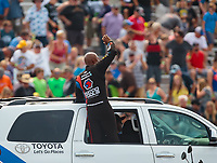 Aug 17, 2018; Brainerd, MN, USA; NHRA top fuel driver Antron Brown during qualifying for the Lucas Oil Nationals at Brainerd International Raceway. Mandatory Credit: Mark J. Rebilas-USA TODAY Sports