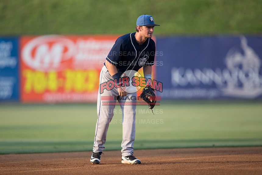Asheville Tourists shortstop Brendan Rodgers (1) on defense against the Kannapolis Intimidators at Kannapolis Intimidators Stadium on May 26, 2016 in Kannapolis, North Carolina.  The Tourists defeated the Intimidators 9-6 in 11 innings.  (Brian Westerholt/Four Seam Images)