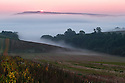 10/09/14 <br /> <br /> Mist clings to farmland as dawn breaks over the Arun Valley, West Sussex.<br /> <br /> All Rights Reserved - F Stop Press.  www.fstoppress.com. Tel: +44 (0)1335 300098
