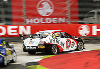 Jim Beam Racing's Steven Johnson takes Holden Corner during qualifying for Race Two during Day Three of the Hamilton 400 Aussie V8 Supercars Round Two at Frankton, Hamilton, New Zealand on Sunday, 19 April 2009. Photo: Dave Lintott / lintottphoto.co.nz