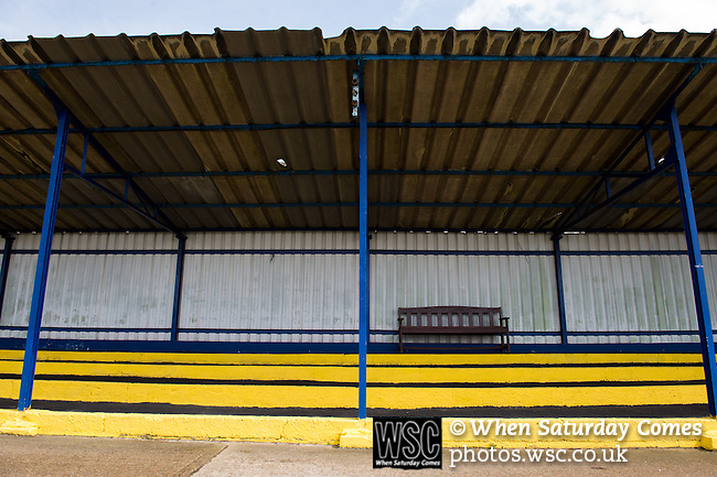 Lowestoft Town 2 Barrow 3, 25/04/2015. Crown Meadow, Conference North. Barrow make the six-hour trip to Suffolk needing a win to secure the title. A bench on the terrace at Crown Meadow. Photo by Simon Gill.