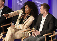 "HOLLYWOOD, CA - MARCH 17:  Angela Bassett and Peter Krause at PaleyFest 2019 - Fox's ""9-1-1"" panel at the Dolby Theatre on March 17, 2019 in Hollywood, California. (Photo by Scott Kirkland/Fox/PictureGroup)"