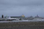 """Tugboats """"Masterman"""" and """"MourneVenture"""" assisting the MV Arklow Valour after she ran aground at the mouth of the River Boyne at Mornington, Co. Louth on Friday 14th December 2018.<br /> Picture:  Thos Caffrey / www.newsfile.ie"""