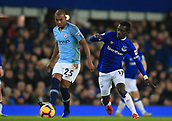 6th February 2019, Goodison Park, Liverpool, England; EPL Premier League Football, Everton versus Manchester City; Fernandinho of Manchester City is challenged by Idrissa Gueye of Everton