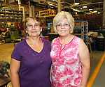 Cheshire, CT-24 August 2012-082412CM08-  Social Moments. Waterbury Button's open house to celebrate its 200th Anniversary.  From L-R Employees Nitza Perez and Fatima Pocesta.   Christopher Massa Republican-American