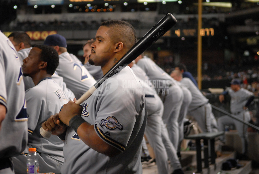 Aug 22, 2007; Phoenix, AZ, USA; Milwaukee Brewers first baseman (28) Prince Fielder against the Arizona Diamondbacks at Chase Field. Mandatory Credit: Mark J. Rebilas-US PRESSWIRE Copyright © 2007 Mark J. Rebilas