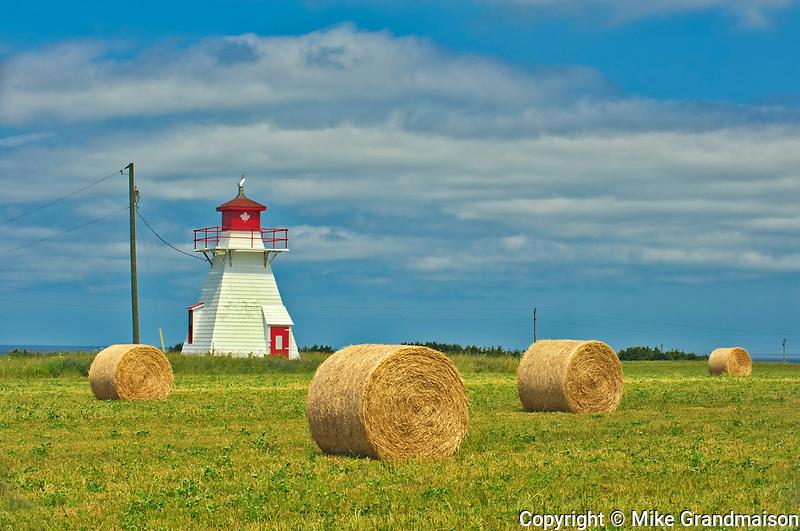 Darnley Lighthouse and bales<br />Darnley<br />Prince Edward Island<br />Canada