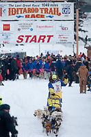 Musher # 30 Melissa Owens at the Restart of the 2009 Iditarod in Willow Alaska