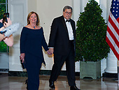 United States Attorney General William P. Barr and Christine Barr arrive for the State Dinner hosted by United States President Donald J. Trump and First lady Melania Trump in honor of Prime Minister Scott Morrison of Australia and his wife, Jenny Morrison, at the White House in Washington, DC on Friday, September 20, 2019.<br /> Credit: Ron Sachs / Pool via CNP