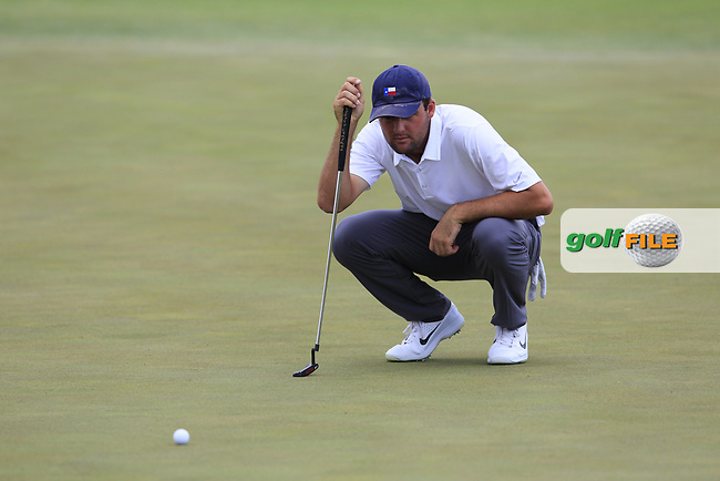 Scottie Scheffler (AM)(USA) on the 11th green during Saturday's Round 3 of the 117th U.S. Open Championship 2017 held at Erin Hills, Erin, Wisconsin, USA. 17th June 2017.<br /> Picture: Eoin Clarke | Golffile<br /> <br /> <br /> All photos usage must carry mandatory copyright credit (&copy; Golffile | Eoin Clarke)