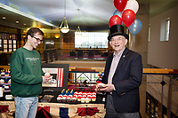 Nathan Sperry, a senior history major from Saint Johns, Florida, and John F. Marszalek, Ulysses S. Grant Association managing editor and executive director, enjoy a cupcake in honor of Abraham Lincoln's birthday on Monday [Feb. 12]. As home to the Frank and Virgnia Williams Collection of Lincolniana, Mississippi State's Mitchell Memorial Library is a major research destination for anyone studying Lincoln. MSU is also home to the Ulysses S. Grant Presidential Library, making the university a prominent center for study on the American Civil War.<br />  (photo by Megan Bean / &copy; Mississippi State University)