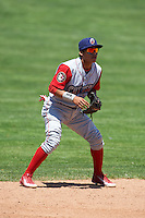 Williamsport Crosscutters shortstop Grenny Cumana (2) during a game against the Batavia Muckdogs on July 16, 2015 at Dwyer Stadium in Batavia, New York.  Batavia defeated Williamsport 4-2.  (Mike Janes/Four Seam Images)