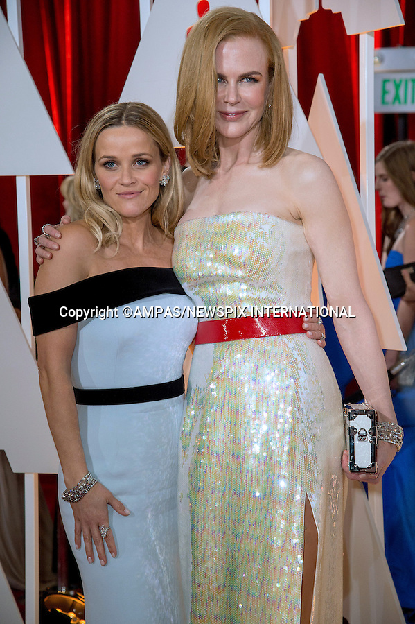 22.02.2015; Hollywood, California: 87TH OSCARS - NICOLE KIDMAN AND REESE WITHERSPOON<br /> Celebrity arrivals at the Annual Academy Awards, Dolby Theatre, Hollywood.<br /> Mandatory Photo Credit: NEWSPIX INTERNATIONAL<br /> <br />               **ALL FEES PAYABLE TO: &quot;NEWSPIX INTERNATIONAL&quot;**<br /> <br /> PHOTO CREDIT MANDATORY!!: NEWSPIX INTERNATIONAL(Failure to credit will incur a surcharge of 100% of reproduction fees)<br /> <br /> IMMEDIATE CONFIRMATION OF USAGE REQUIRED:<br /> Newspix International, 31 Chinnery Hill, Bishop's Stortford, ENGLAND CM23 3PS<br /> Tel:+441279 324672  ; Fax: +441279656877<br /> Mobile:  0777568 1153<br /> e-mail: info@newspixinternational.co.uk