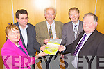 REPORT: At the publication of a new report 'The Rural Challenge' at the IT in Tralee on Monday were, l-r: Brigid O'Connor (IRDA), James McCarthy (IFA), James Doyle (IRDA), Micheal O Muircheartaigh (Guest Speaker), Jerome Conway (GAA).