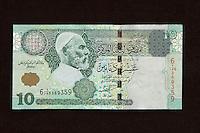 Tripoli, Libya.  Ten dinar banknote showing Umar al-Mukhtar.