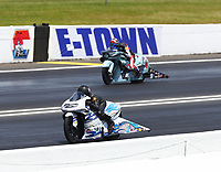 Jun 11, 2017; Englishtown , NJ, USA; NHRA pro stock motorcycle rider Jerry Savoie (near) alongside Cory Reed during the Summernationals at Old Bridge Township Raceway Park. Mandatory Credit: Mark J. Rebilas-USA TODAY Sports