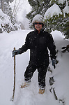 Hiker in snow at Rubicon