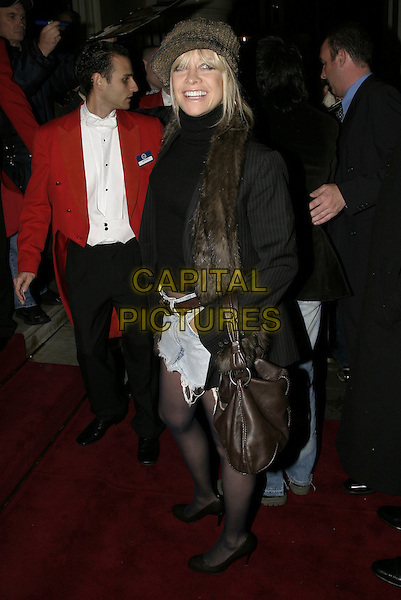"JO HUDSON.UK premiere of new musical ""The Producers"", Theatre Royal, Drury Lane, London, 9th November 2004..full length wife of Ronnie Wood  brown fur scarf wooly hat.Ref: AH.www.capitalpictures.com.sales@capitalpictures.com.©Capital Pictures."