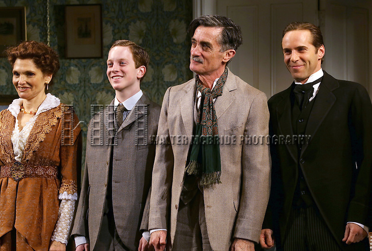 Mary Elizabeth Mastrantonio, Spencer Davis Milford, Roger Rees and Alessandro Nivola during the Opening Night Curtain Call for 'The Winslow Boy'  at the American Airlines Theatre on October 17, 2013 in New York City.