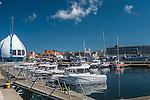Hel, (województwo pomorskie) 20.07.2016. Widok na port z Bulwaru Nadmorskiego.
