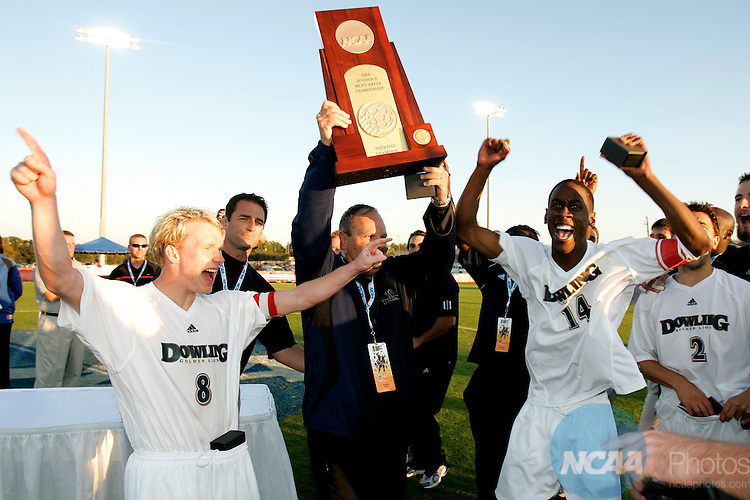 18 November 2006: The Dowling Men's Soccer team celebrates after winning the 2006 NCAA Division II Men's Soccer Championship held at Escambia County Stadium in Pensacola, FL.  Dowling defeated Fort Lewis 1-0 to win the National Title.  The championship was part of the Division II Sports Festival in Pensacola. Trevor Brown, Jr./NCAA Photos