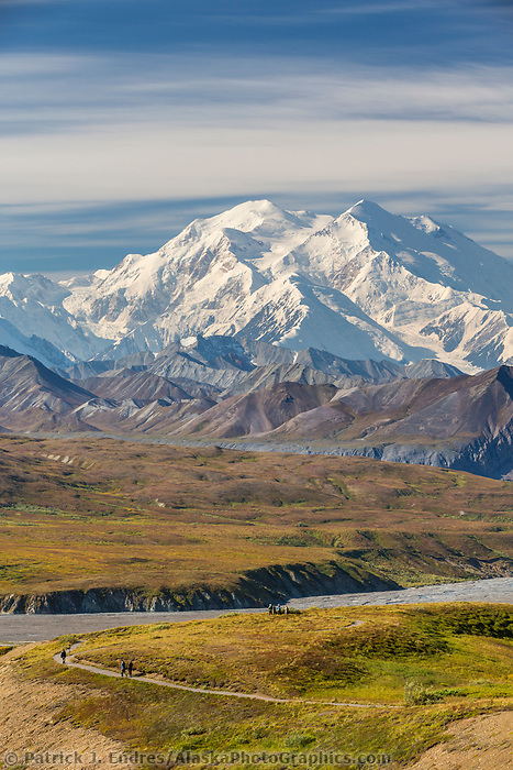Hikers view Denali and the Alaska Range mountains from the trails at Eielson visitors center in Denali National Park, Alaska.