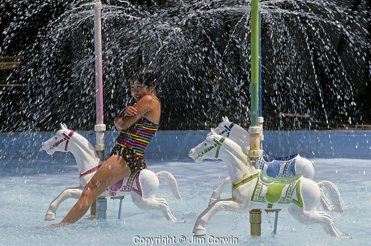 Girl getting wet under sprinkler