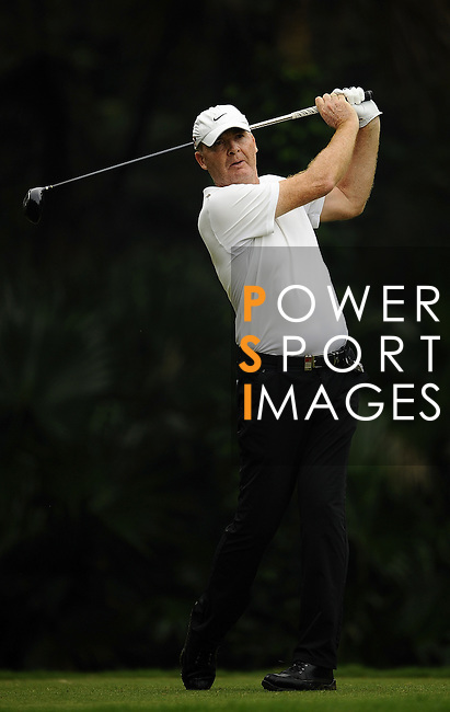 TAIPEI, TAIWAN - NOVEMBER 18: Gordon Manson of Austria tees off on the 3rd hole during day one of the Fubon Senior Open at Miramar Golf & Country Club on November 18, 2011 in Taipei, Taiwan.  Photo by Victor Fraile / The Power of Sport Images