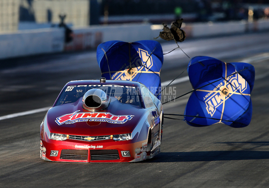 Nov 14, 2015; Pomona, CA, USA; NHRA pro stock driver Greg Anderson during qualifying for the Auto Club Finals at Auto Club Raceway at Pomona. Mandatory Credit: Mark J. Rebilas-USA TODAY Sports