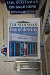 Copies of Scotsman newspapers on sale in a shop on the day that Scotland voted in the independence referendum. Yes Scotland were campaigning for the country to leave the United Kingdom, whilst Better Together were campaigning for Scotland to remain in the UK. On the 18th of September 2014, the people of Scotland voted in a referendum to decide whether the country's union with England should continue or Scotland should become an independent nation once again and leave the United Kingdom.