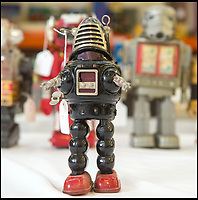 BNPS.co.uk (01202 558833)<br /> Pic: PhilYeomans/BNPS<br /> <br /> Robbie the Robot from the early 1960's.<br /> <br /> Take me to your leader - out of this world collection of rudimentary robots from the earliest days of sci-fi.<br /> <br /> The huge collection of over 500 classic sci-fi toys dates back to the 1950's and 60's and could now be worth a whopping &pound;30,000.<br /> <br /> The huge collection was started by a robot mad schoolboy in the 1950's as the Russian Sputnik satellite kick started the race for space and sparked huge interest in science fiction.<br /> <br /> The oldest items date from the late 1950's with models continuing all the way through to the 1990s with several classic favourites included.<br /> <br /> There are a number of lots related to TV classic Thunderbirds and a model of Robbie the Robot, who featured in the TV series Lost in Space and the film Forbidden Planet remains in terrific condition.