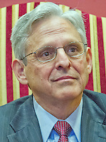 Judge Merrick Garland, chief justice for the United States Court of Appeals for the District of Columbia Circuit, who is US President Barack Obama's selection to replace the late Associate Justice Antonin Scalia on the US Supreme Court, arrives for a photo op and conversation with US Senator Joe Manchin III (Democrat of West Virginia) in the Senator's office on Capitol Hill in Washington, DC on Tuesday, April 5, 2016. Photo Credit: Ron Sachs/CNP/AdMedia