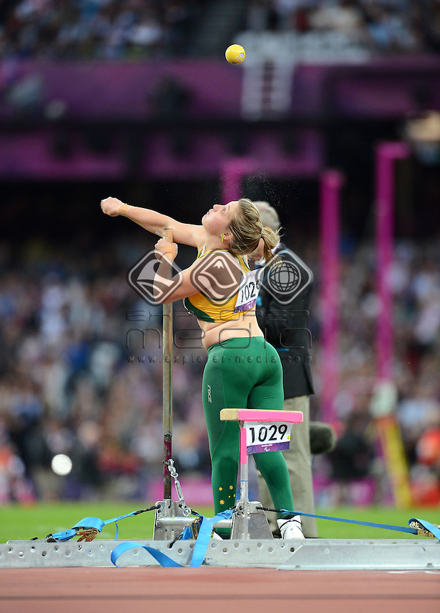 Brydee Moore (AUS) competes in the Women's Shot Put F33<br /> Athletics (Thursday 6th Sept) - Olympic Stadium<br /> Paralympics - Summer / London 2012 <br /> London, England 29 Aug - 9 Sept<br /> &copy; Sport the library/Courtney Crow