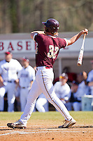 Daniel Aldrich #32 of the College of Charleston Cougars follows through on his swing after hitting a home run against the Davidson Wildcats at Wilson Field on March 12, 2011 in Davidson, North Carolina.  The Wildcats defeated the Cougars 8-3.  Photo by Brian Westerholt / Four Seam Images