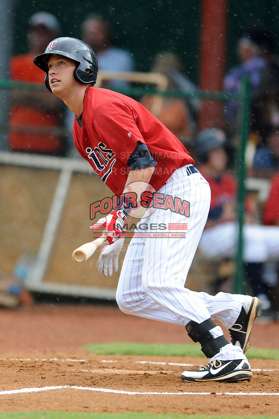 Elizabethton Twins designated hitter Bryan Harr #38 swings at a pitch during a game against the Bristol White Sox at Joe O'Brien Field on June 20, 2013 in Elizabethton, Tennessee. The Twins won the game 3-0. (Tony Farlow/Four Seam Images)