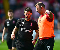 Lincoln City manager Danny Cowley, left, and Matt Rhead during the pre-match warm-up<br /> <br /> Photographer Andrew Vaughan/CameraSport<br /> <br /> The EFL Sky Bet League Two - Lincoln City v Tranmere Rovers - Monday 22nd April 2019 - Sincil Bank - Lincoln<br /> <br /> World Copyright © 2019 CameraSport. All rights reserved. 43 Linden Ave. Countesthorpe. Leicester. England. LE8 5PG - Tel: +44 (0) 116 277 4147 - admin@camerasport.com - www.camerasport.com