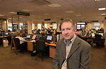 Francis Patton, customer services  director of Punch pub company whch owns 8,400 pubs.  Seen here inside  Punch's HQ customer services call centre at Burton on Trent.