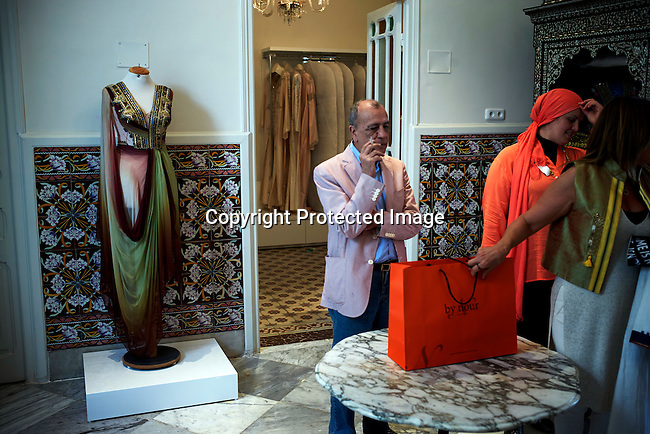 TUNIS, TUNISIA - APRIL 11: An upmarket shop in Tunis after a fashion show during la Fete Internationale de la Mode on April 11, 2015, held at Carthage Thalasso Resort hotel in Tunis, Tunisia. (Photo by: Per-Anders Pettersson)