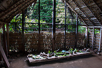 Examples of food on a lauhala mat-covered table in a recreated Hawaiian hut (used as a men's eating house), Kamokila Hawaiian Village, Wailua River Valley, Kauai.