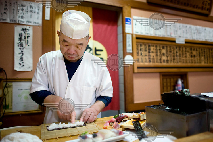 A chef preparing Sushi in an Restaurant. /Felix Features