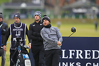 Jordan Smith (ENG) on the 2nd tee during round 4 of the Alfred Dunhill Links Championship at Old Course St. Andrew's, Fife, Scotland. 07/10/2018.<br /> Picture Thos Caffrey / Golffile.ie<br /> <br /> All photo usage must carry mandatory copyright credit (&copy; Golffile | Thos Caffrey)