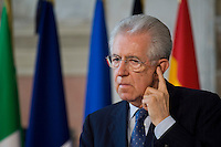 Mario Monti durante la conferenza stampa al termine del vertice tra Italia, Spagna, Francia e Germania a Villa Madama..Italian Prime Minister Mario Monti attends a media conference at the end of a meeting with German Chancellor Angela Merkel, French Prime Minister Francois Hollande and Spanish Premier Mariano Rajoy at Villa Madama in Rome.