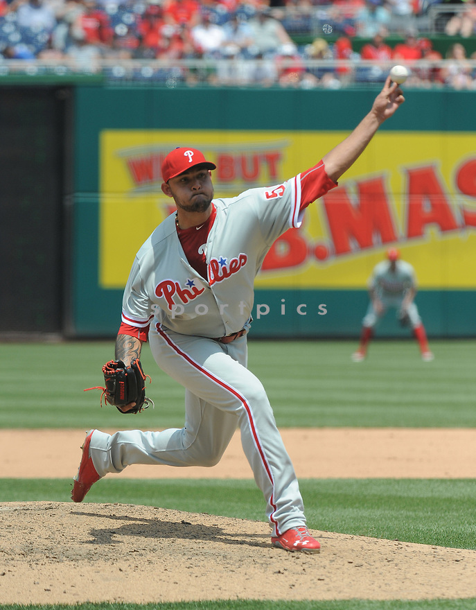 Philadelphia Phillies Elvis Araujo (59) during a game against the Washington Nationals on June 11, 2016 at Nationals Park in Washington, DC. The Nationals beat the Phillies 8-0.