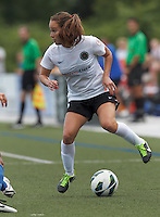 Portland Thorns FC midfielder Meleana Shim (6) collects a pass.  In a National Women's Soccer League (NWSL) match, Portland Thorns FC (white/black) defeated Boston Breakers (blue), 2-1, at Dilboy Stadium on July 21, 2013.