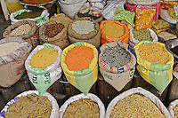 Colorful spices at the vegetable market, Udaipur, India.