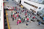 Passengers disembarking on quayside, Nordlys Hurtigruten ferry ship, Svolvaer, Lofoten Islands, Nordland, Norway