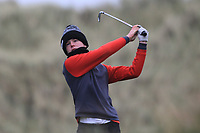 Keaton Morrison (Greenacres) on the 13th tee during Round 2 of the Ulster Boys Championship at Portrush Golf Club, Portrush, Co. Antrim on the Valley course on Wednesday 31st Oct 2018.<br /> Picture:  Thos Caffrey / www.golffile.ie<br /> <br /> All photo usage must carry mandatory copyright credit (&copy; Golffile | Thos Caffrey)